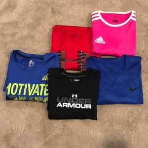 Boys XL shirt bundle Adidas, UA and Nike
